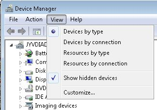 Device Manager > Show hidden devices