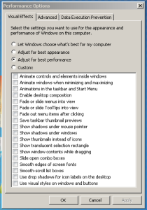 Best Performance Windows 7 Visual Effects when applied